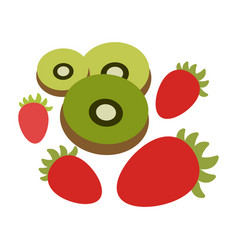 fruits of a kiwi strawberry vector image