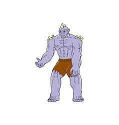 Goblin monster horn cartoon vector