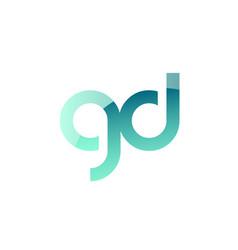 green gradient pastel modern gd g d alphabet vector image