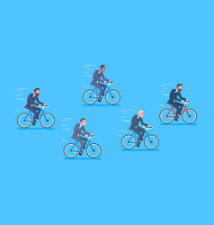Group of mix race business men ride bicycle fast vector