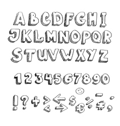hand drawn alphabet lowercase and punctuation vector image vector image
