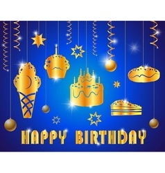 Happy birthday with text glossy gold vector