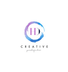 Hd letter logo circular purple splash brush vector