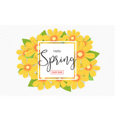 Hello spring season time sales season banner vector