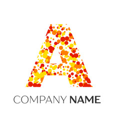 Letter a logo with orange yellow red particles vector