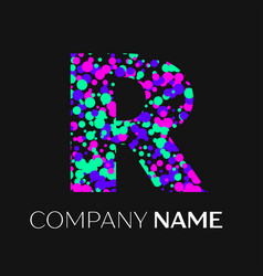 Letter r logo with pink purple green particles vector