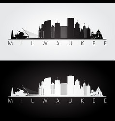 milwaukee usa skyline and landmarks silhouette vector image