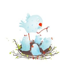 Mother Bird in Nest Feeding her Babies vector image vector image
