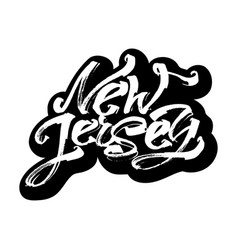 new jersey sticker modern calligraphy hand vector image vector image