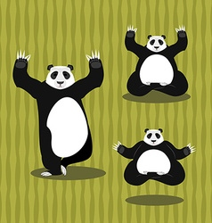 Panda Yoga meditating Chinese bear on background vector image