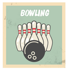 Retro bowling party flyer with skittles and ball vector