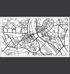 Riga latvia map in black and white color vector