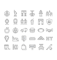 Set flat line icons new york vector
