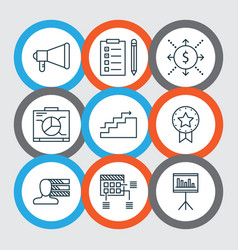 Set of 9 project management icons includes money vector