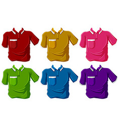 Shirts in six different colors vector