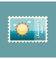 Sun flat stamp summertime vector image