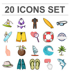 Surfing and extreme cartoon icons in set vector