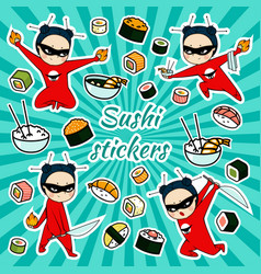 sushi stickers vector image vector image