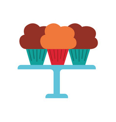 Three birthday cupcakes arranged on a serving tray vector