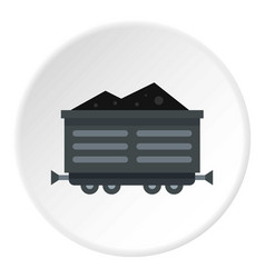 Train waggon with coal icon circle vector