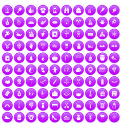 100 family tradition icons set purple vector image vector image