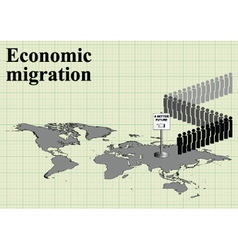 Economic migration world map vector