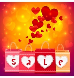 Valentines day shopping bags greeting card vector image