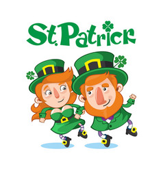 cartoon celebrating saint patrick day concept vector image
