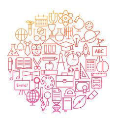 school line icon circle design vector image