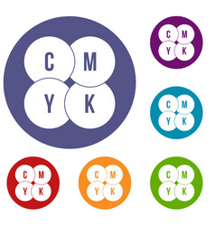 Cmyk circles icons set vector