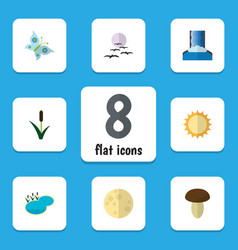 Flat icon natural set of lunar cattail vector