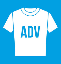 T-shirt with print adv icon white vector