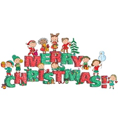 Merry christmas kids on letters vector