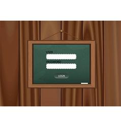 Realistic blackboard login on wooden background vector image