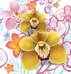 Seamless floral pattern with yellow orchid vector