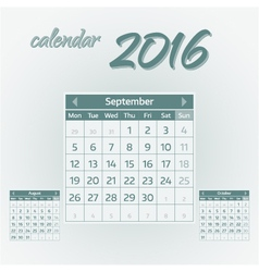 September 2016 vector image