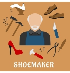 Shoemaker with shoes and tools flat icons vector image