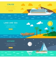 Nautical travel concept horizontal banners set vector