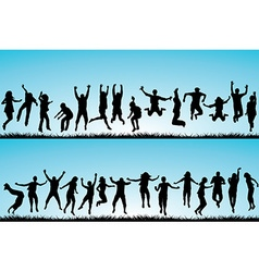 Set of people jumping outdoor vector