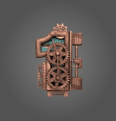 1 rusted letter with gears vector