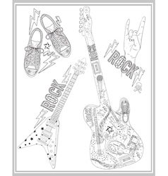 Rock music design elements set vector