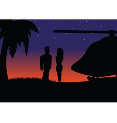 Sunset silhouette helicopter vector