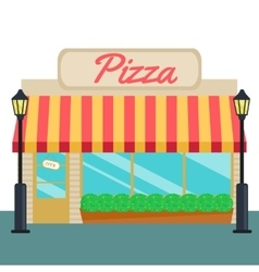 Pizza shops and store front flat style vector