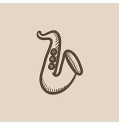 Saxophone sketch icon vector