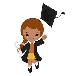African american little girl graduating vector