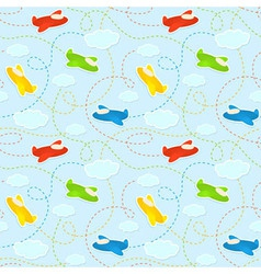 Blue seamless pattern with clouds and airplanes vector image vector image