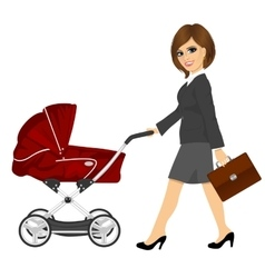business woman with briefcase pushing pram vector image
