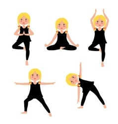 Children yoga set vector