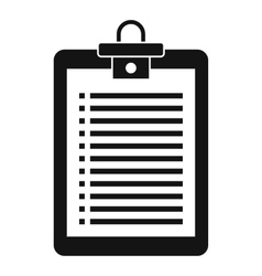 Clipboard with check list icon simple style vector