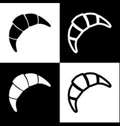 Croissant simple sign black and white vector